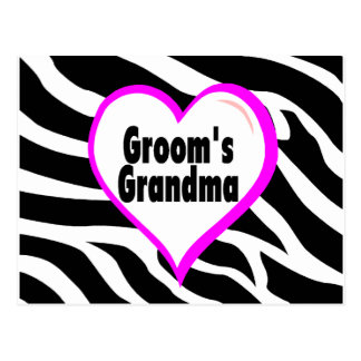 Grooms Grandma (Heart Zebra Stripes) Postcard