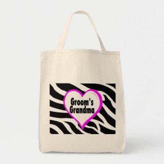Grooms Grandma (Heart Zebra Stripes) Tote Bag