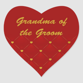 Groom's Grandma (r/g) Heart Sticker