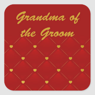 Groom's Grandma (r/g) Square Sticker