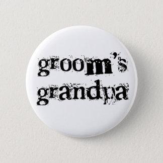 Groom's Grandpa Black Text Pinback Button