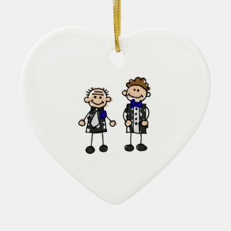 Grooms in Love Double-Sided Heart Ceramic Christmas Ornament