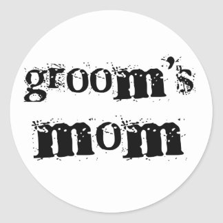 Groom's Mom Black Text Classic Round Sticker