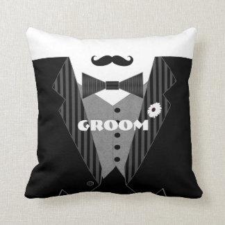 Groom's Mustache Tuxedo Black Tie Pillow