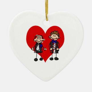 Grooms on a heart christmas ornaments