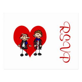Grooms on a heart postcard