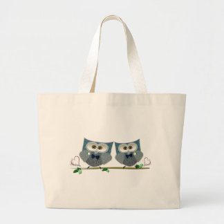 Grooms Owls Wedding Gifts Large Tote Bag