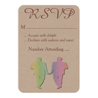Grooms Pastel Pride RSVP for a Gay Wedding 3.5x5 Paper Invitation Card