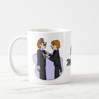 Grooms preparing for wedding classic white coffee mug