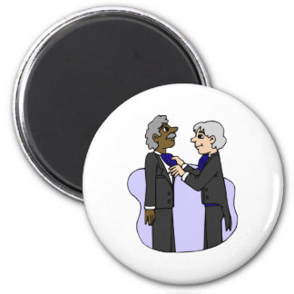 Grooms preparing for wedding Old Interracial Refrigerator Magnets