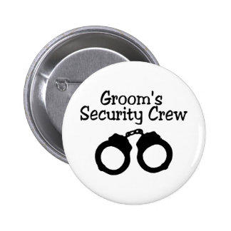 Grooms Security Crew Handcuffs 2 Inch Round Button