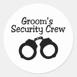 Grooms Security Crew Handcuffs Classic Round Sticker
