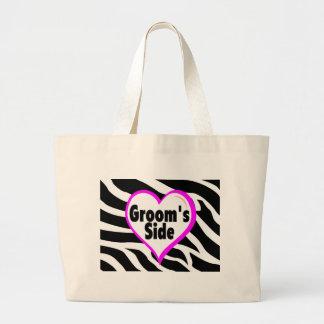 Grooms Side (Heart Zebra Stripes) Large Tote Bag