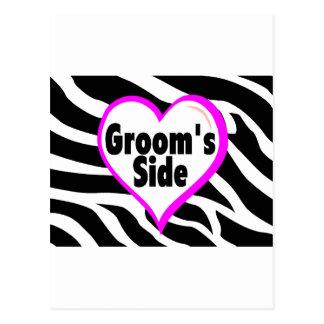 Grooms Side (Zebra Print) Postcard