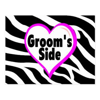 Grooms Side Zebra Stripes Postcard