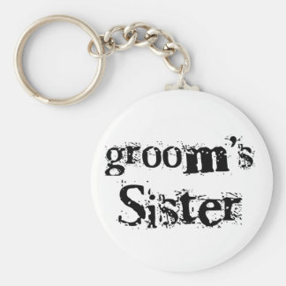 Groom's Sister Black Text Basic Round Button Keychain