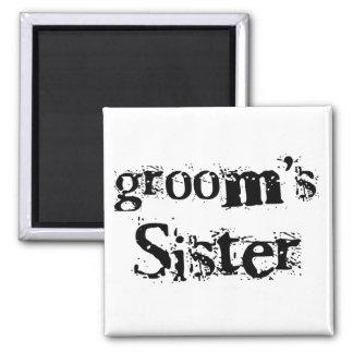 Groom's Sister Black Text Fridge Magnets