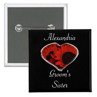 """Groom's Sister"" - Red Sunflowers/Heart Pinback Button"
