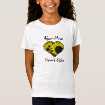 """Groom's Sister"" - Yellow Sunflower Heart T-Shirt"