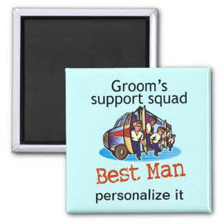 Groom's Squad Best Man 2 Inch Square Magnet