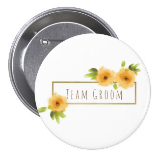 Groom's team CHEERFUL YELLOW ORANGE FLOWERS Button