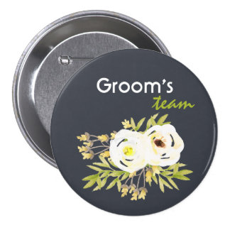 Groom's team COOL WHITE & YELLOW WATERCOLOR FLORAL Pinback Button