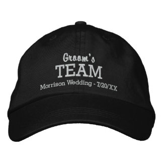 Groom's Team Custom Wedding Baseball Hat Name Date