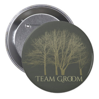 Groom's team ELEGANT GREY GOLD FALL AUTUMN TREES Button