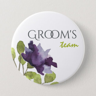 Groom's team ELEGANT INK BLUE WATERCOLOUR FLORAL Button