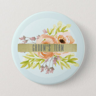 Groom's team ROMANTIC PINK, PURPLE, BLUE FLORAL Pinback Button