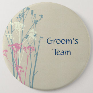 Groom's team RUSTIC BLUE WHITE PINK COUNTRY CHARM Pinback Button