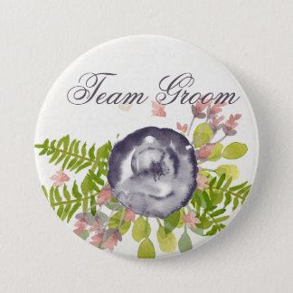 Groom's team RUSTIC VIOLET PINK WILD FLOWERS Pinback Button
