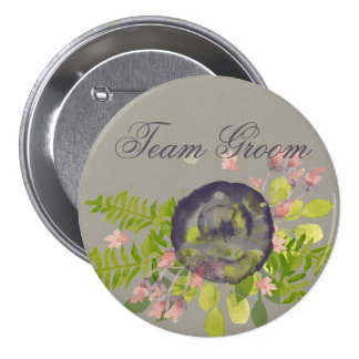 Groom's team RUSTIC VIOLET YELLOW WILD FLOWERS Pinback Button