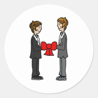 Grooms Tie the Knot Classic Round Sticker