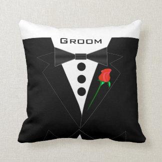 Groom's Tuxedo Black Tie Pillow