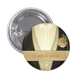 Grooms Tuxedo (Ivory) Custom Wedding Buttons