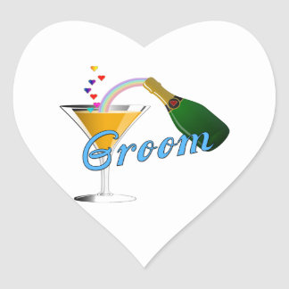 Grooms Wedding Champagne Toast Heart Sticker