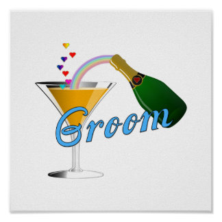 Grooms Wedding Champagne Toast Poster