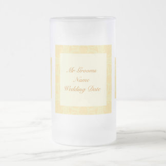 Grooms Wedding Glass - Cream Ivory Gold Pattern Frosted Glass Beer Mug