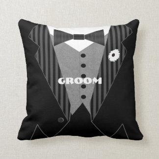 Grooms White Flower Tuxedo Pillow