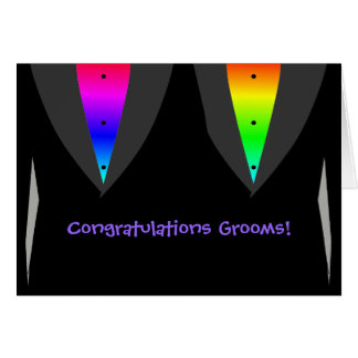 Grooms With Hearts Aglow with Pride - Gay Wedding Card