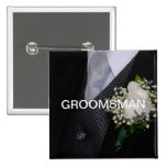 Groomsman 2 Inch Square Button