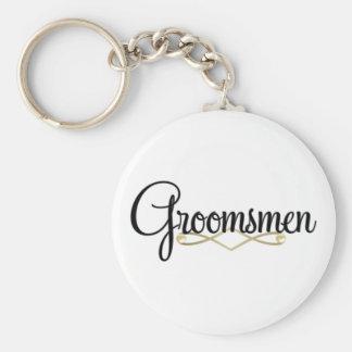 Groomsman Basic Round Button Keychain