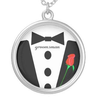 Groomsman Black Tie  Necklace