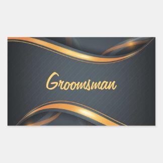 Groomsman (blk/gd) rectangular sticker