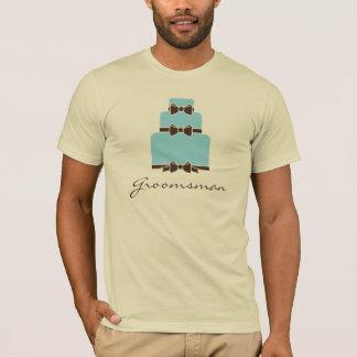 Groomsman Blue and Brown Wedding Cake T-Shirt