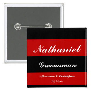 """""""Groomsman"""" Bold Stripes w/ Names and Date [a] Pinback Button"""