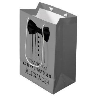 Groomsman Bow Tie Tuxedo Customize Grey Color Medium Gift Bag