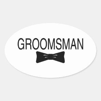 Groomsman Bowtie Oval Sticker