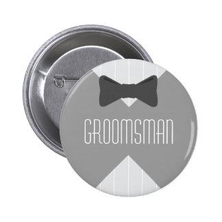 Groomsman Bowtie & Stripes Button
